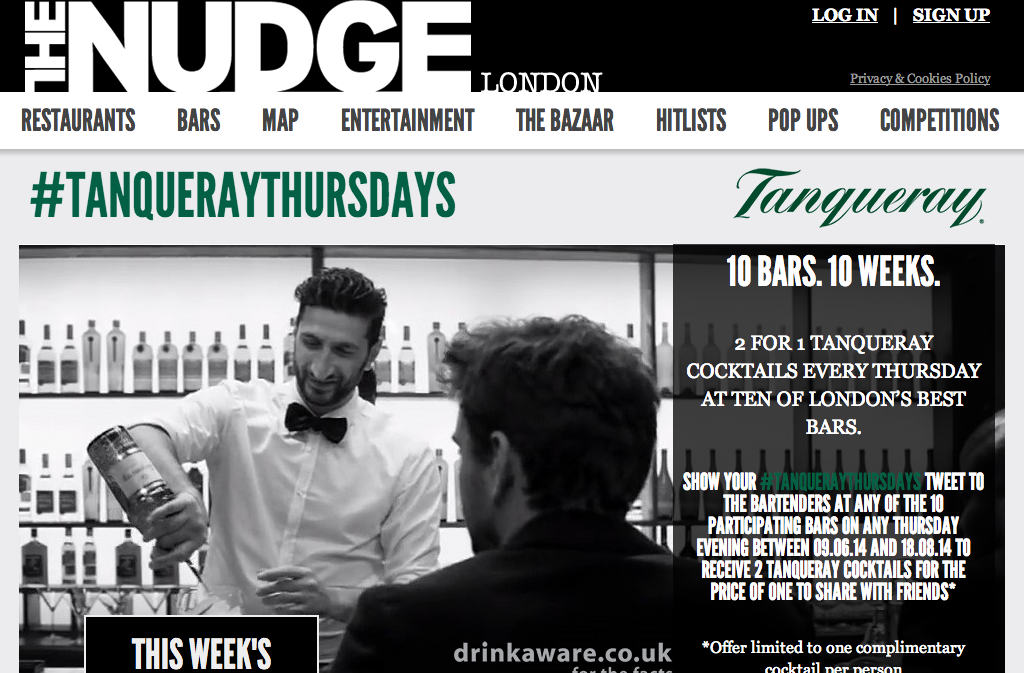 Screenshot of Tanqueray homepage